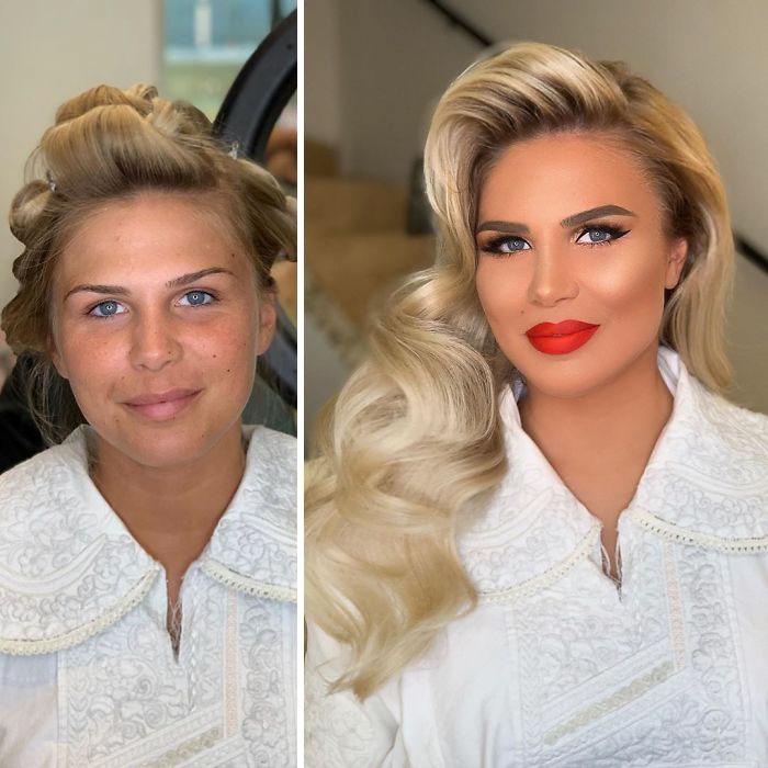 5d4d3da3c8e75 bride 13 5d4bd022cea26  700 - 23 lindas noivas antes e depois de sua maquiagem de Casamento