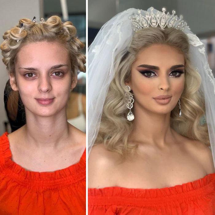5d4d3da6200c1 bride 22 5d4bd031cef20  700 - 23 lindas noivas antes e depois de sua maquiagem de Casamento
