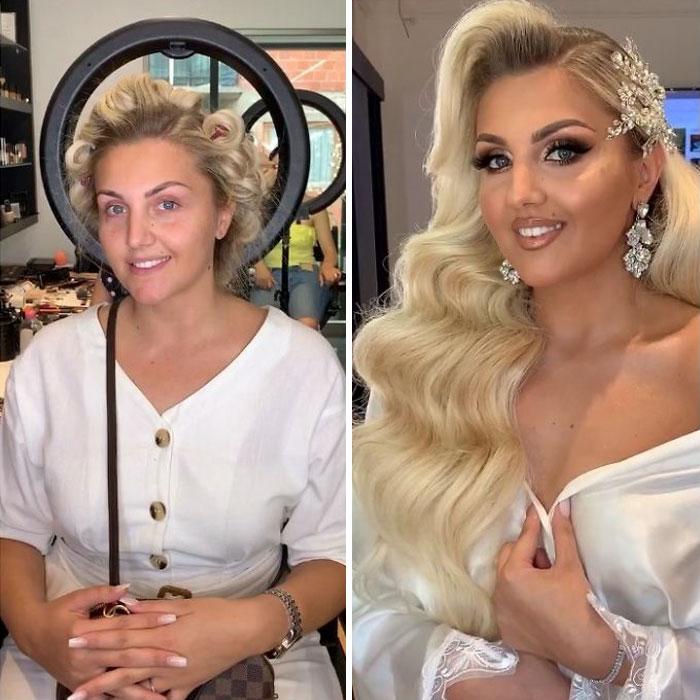 5d4d3da6611fd bride 23 5d4bd033b4a30  700 - 23 lindas noivas antes e depois de sua maquiagem de Casamento
