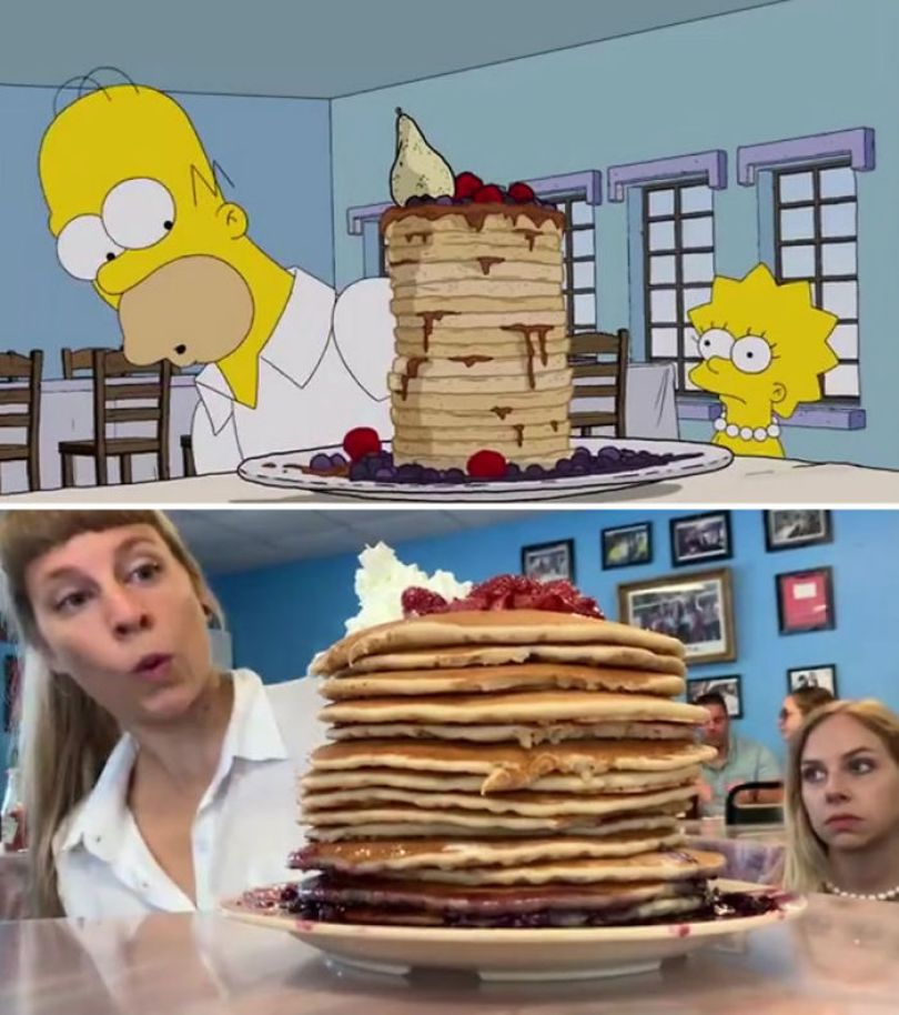 "5d6cc3eeaf08a An episode of The Simpsons recreated in real life fun by two fans 5d678fb602d1a 700 - Mulher recria cenas de Homer de ""Os Simpsons"" comendo em restaurantes"