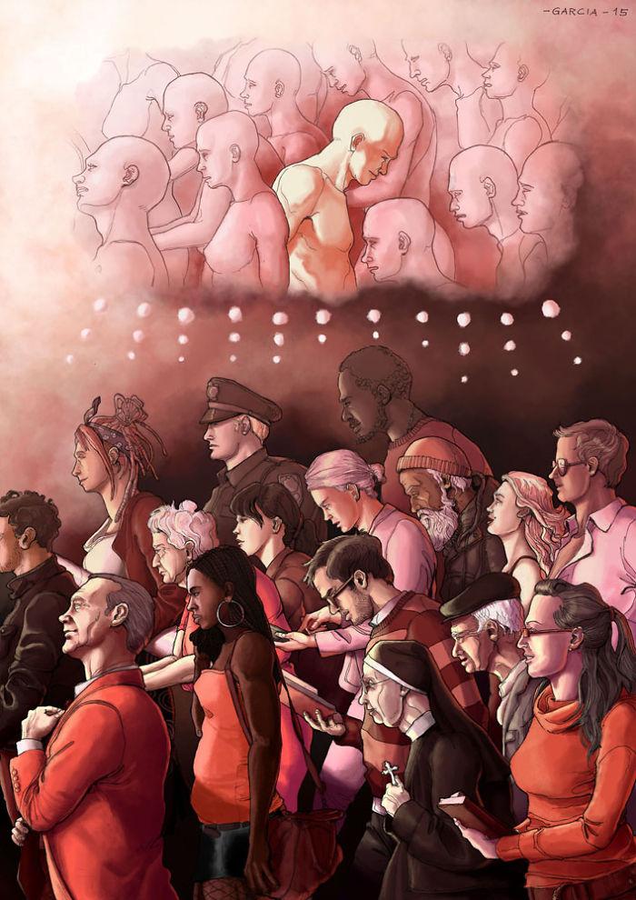 5d8dbd1dd7b3d 50 Brutally Shocking Illustrations that tell whats Wrong with our Society 5d8a0e054c205  700 - 35 ilustrações instigantes que mostram o que há de errado com nossa sociedade