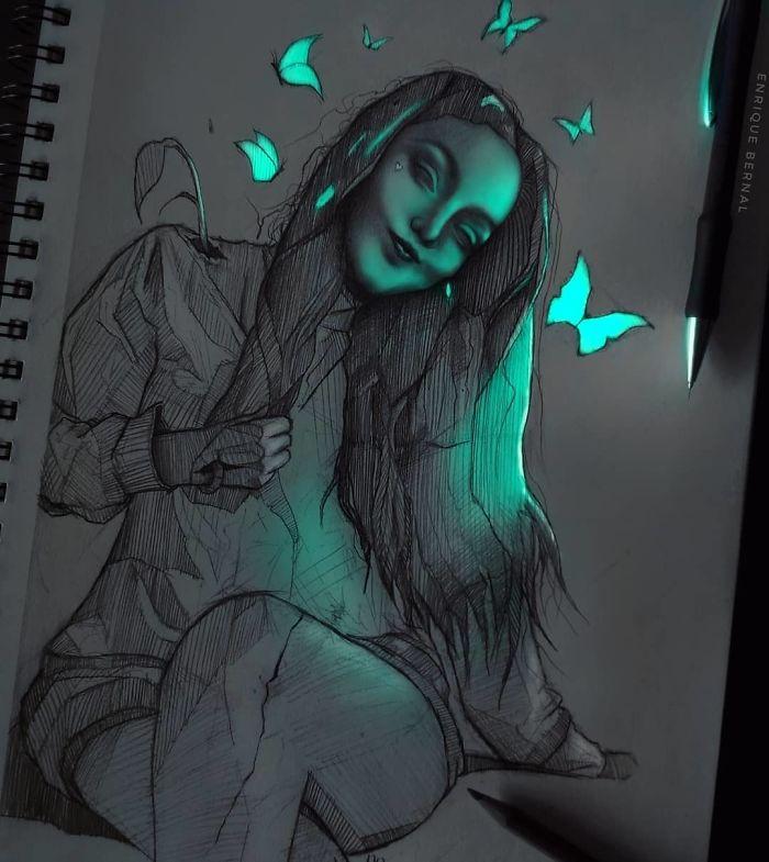 5e4b9f6b73c07 B4V7UlTpqRn png  700 - Técnica única deste artista faz parecer que seus desenhos estão brilhando