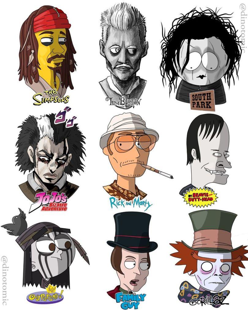 5ea14342d4241 different cartoon styles drawings dinotomic 1 6 5e9e963098b81  880 - Artista desenhou celebridades como desenhos e o resultado é incrível