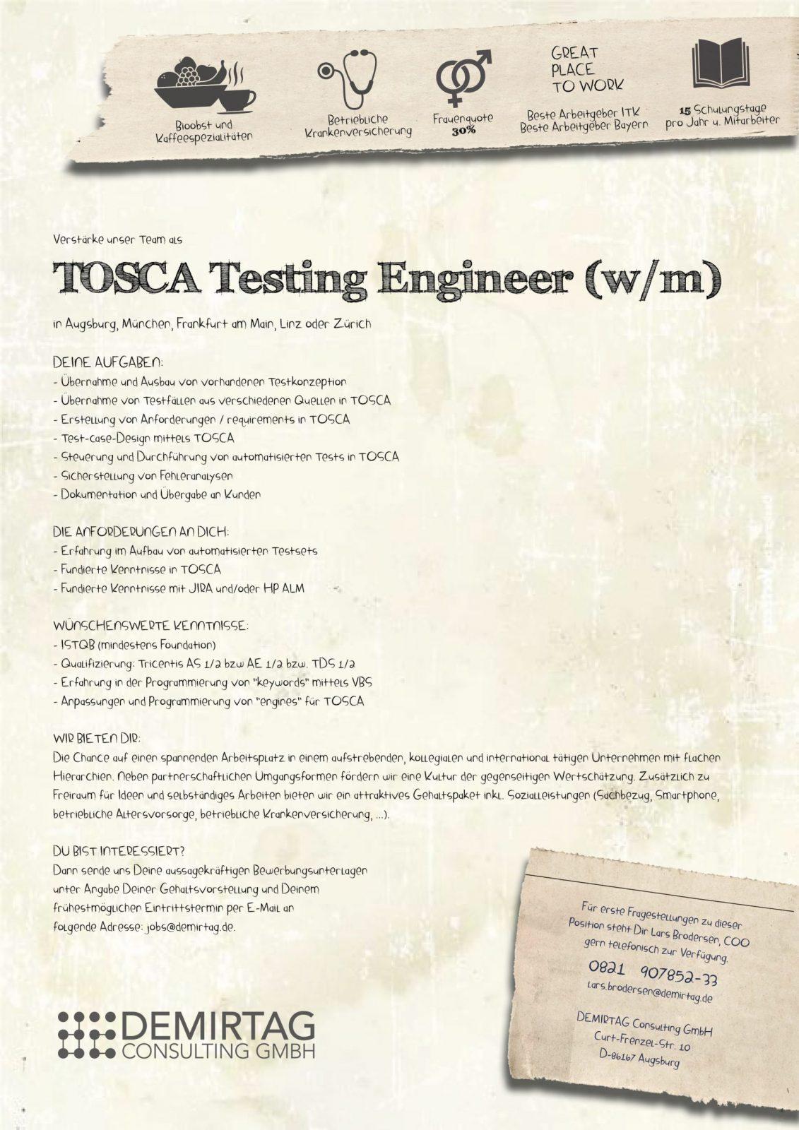 Tosca Testing Engineer Demirtag