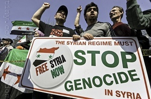 DC Syria Poster Stop Genocide w Protesters1 Rebel Syria General Urges Opposition to Unite