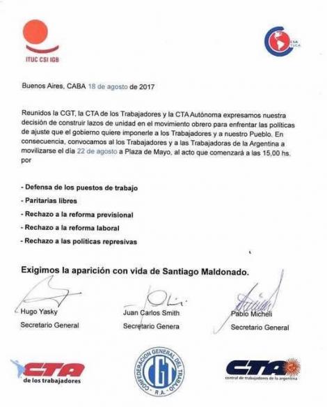 22/08 – Movilización CGT-CTAT-CTAA