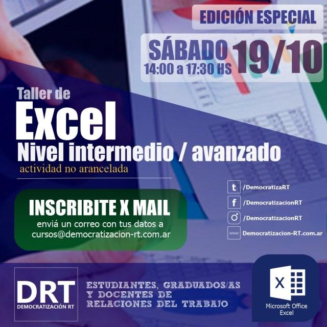 📊 Taller de Excel – edición especial – octubre 2019