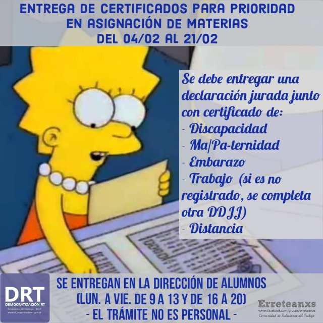 📌 Entrega de certificados para asignación prioritaria de materias.