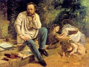 Pierre Joseph Proudhon e i suoi figli. Dipinto di Gustave Courbet, 1865.