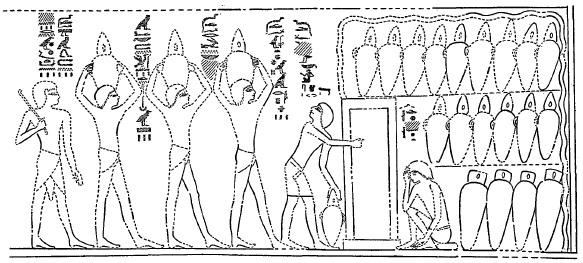 Figura 1. Dipinto egizio rinvenuto su una parete del sepolcro dell'araldo reale Antef (Tomba Tebana 155), risalente all'epoca di Thoutmosis III (1479-1425) a.C. Immagine tratta dal testo citato di Baudouin Van De Walle.