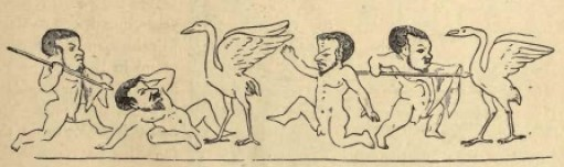 Figura 11. La feroce battaglia tra Pigmei e gru. Decorazione di un interno pompeiano. Immagine tratta dal testo citato di Parton.