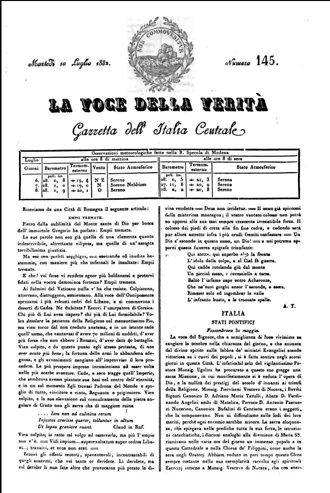02 La Voce della Verità, uno dei giornali su cui si sviluppò la polemica tra Mazzini e i reazionari