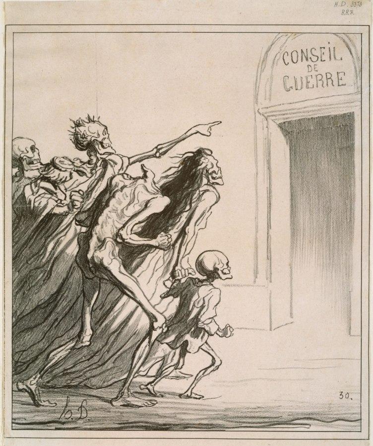Figura 1. Conseil de Guerre (1872). Il disegno è identificato da un doppio titolo, Il Consiglio di guerra e I testimoni. Litografia, 253 × 222 mm.