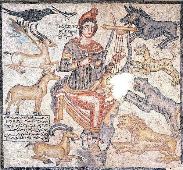Figura 3. Orfeo incanta gli animali, da un mosaico romano presso Edessa, Turchia, 194 d.C.