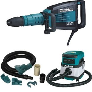 Makita HM1214C 27.1-Pound Demolition Hammer with Makita 196571-4 Dust Extraction Attachment, SDS-MAX, Demolition with Makita XCV04Z 18V X2 LXT Lithium-Ion Cordless/Corded Dry Vacuum, 2.1 gallon
