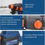 3 in 1 Hammer Drill, Duty Rotary Hammer Drill 3 Function and Adjustabl Soft Grip Handle 20V 4.0Ah 26Mm Drilling Diameter LMMS
