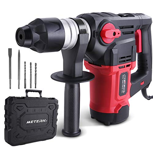 Rotary hammer drill 12.5A, Meterk 7.4J impact energy, 4350 BPM, 6-speed speed regulation, SDS Plus chuck, safety clutch & VDT vibration reduction technology, used for concrete, metal and stone