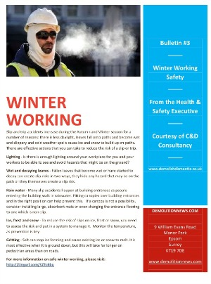 Demolition News Safety Bulletin Winter Working