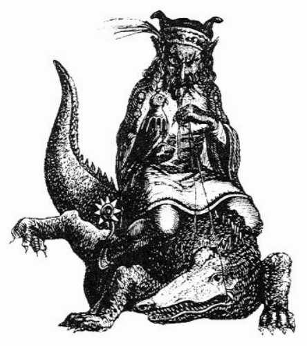 The common depiction of Agares from Christian demonology is an elderly man riding a crocodile with a hawk resting on his arm. He is a duke of Hell who teaches many languages, but only the curse words and horrible ethnic slurs of each.