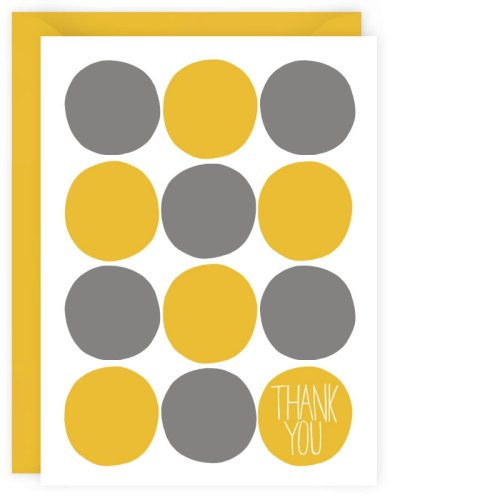 yellow + gray dots thank you card