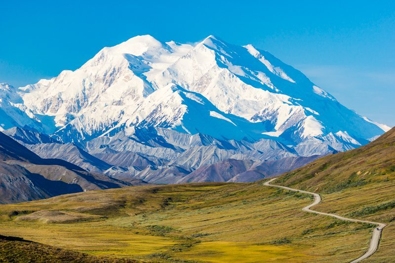 View of Mount McKinley and park road in Denali National Park from Stony Pass.