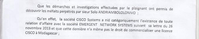 Le matériel Cisco peut être revendu ou loué librement d'après le site web de Cisco contrairement à l'arrêt de la Cour d'appel d'Antananarivo