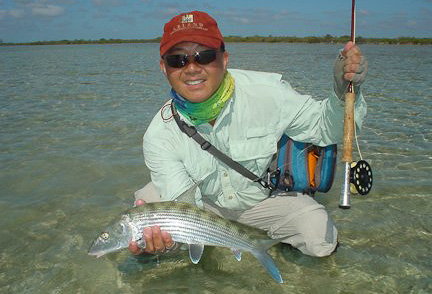 Jon Yenari with yet another South Andros bonefish.  Photo: Rick Grassett