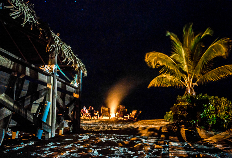 Tiki hut and bon fire at Andros South Bonefish Lodge