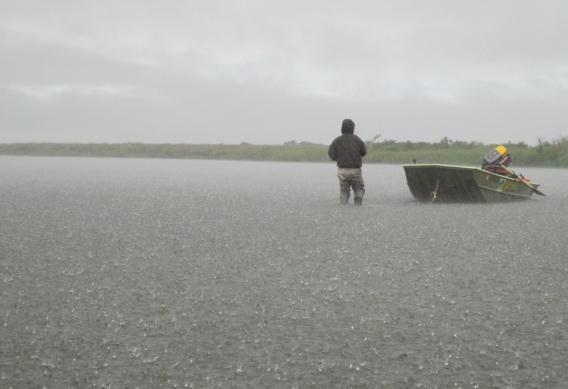 Rain while fishing in Western Alaska.