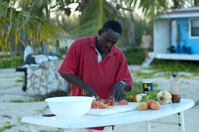 Making Conch Salad.