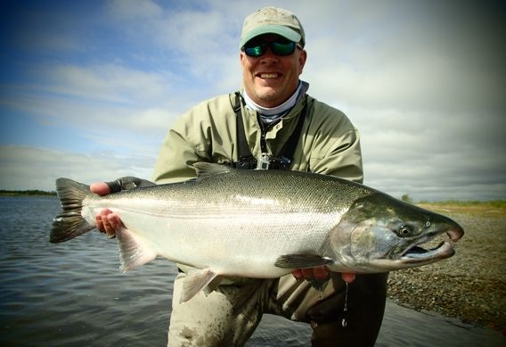Fly fishing for silver salmon at Alaska West.