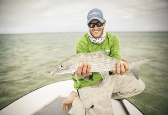 Kyle Shea with a Bonefish from Andros South by Hollis Bennett.