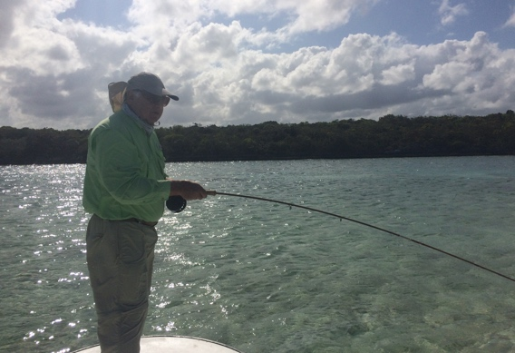 Fly fishing for bonefish with bamboo.