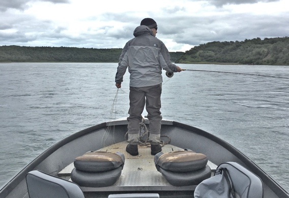 Fly fishing the smolt bust for rainbow trout at Rapids Camp Lodge.