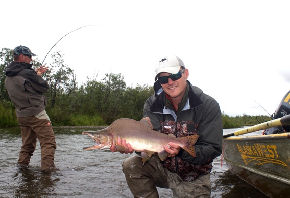 Fly fishing for pink salmon.