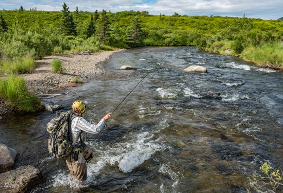 Fly fishing at Rapids Camp Lodge by Abe Blair