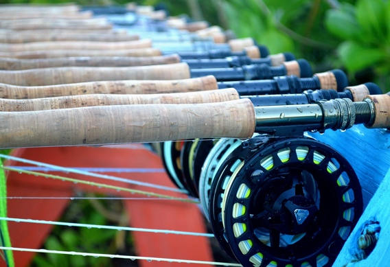 Fly rod rack at Andros South.