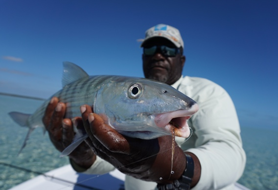 Josie Sands with a South Andros Bonefish