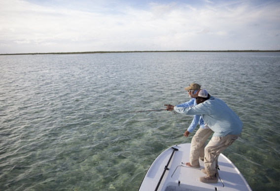 Pointing out bonefish by Hollis Bennett