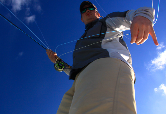 Casting to bonefish by Pete Viau