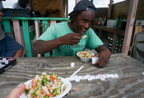 Eating conch salad at andros south