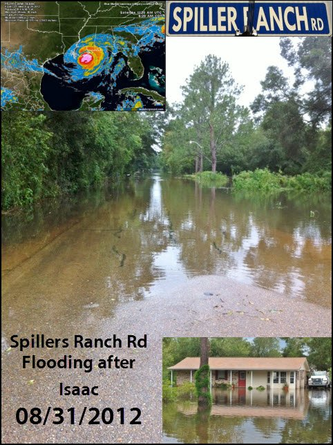Hurricane Isaac Flooding in Spillers Ranch Road Denham Srpings LA 70726