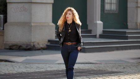 Dark Blue Denim jeans and Leather Jacket with Brown hot Belt