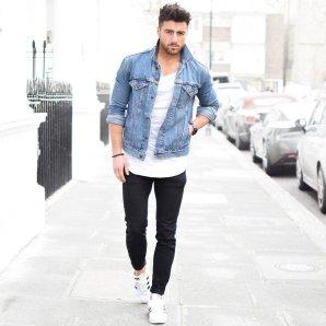 Black Skinny Denim Jeans with Bleached Blue Denim Jacket