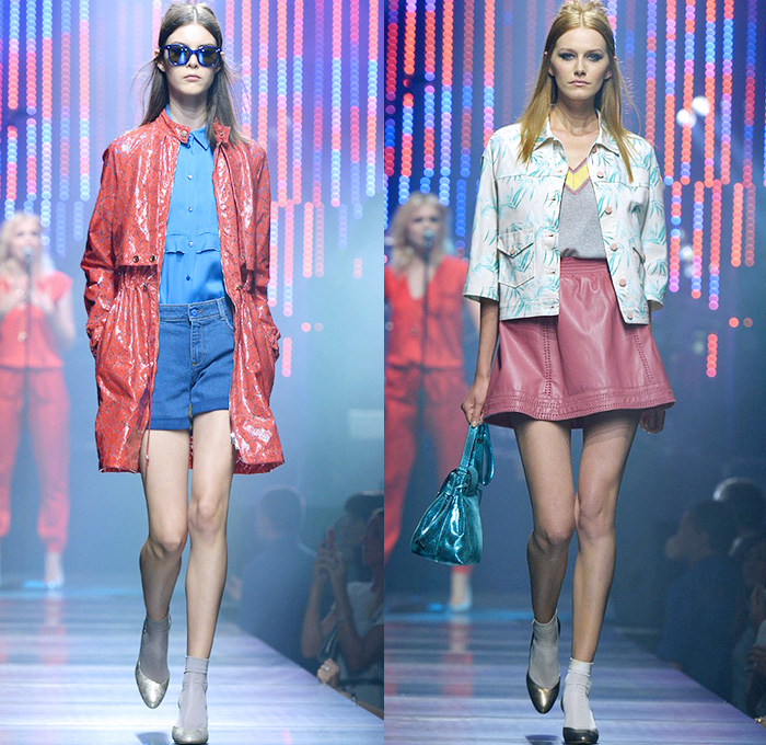 Tru Trussardi 2015 Spring Summer Womens Runway Looks - Milano Moda Uomo Collezione Milan Fashion Week Italy - Denim Jeans Patchwork Patches Outerwear Stripes Embroidery Paisley Rainwear Anorak Windbreaker Shorts Blouse Miniskirt Palm Trees Foliage Leaves Trucker Jacket Shorts Boxing Trunks Knit Shirtdress Yellow Jumpsuit Bib Brace Coveralls Overalls Lace Steel Pattern Trainers Coat Motorcycle Biker Rider Wide Leg Trousers Palazzo Pants Leather