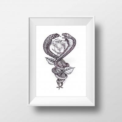 ilustração para tatuagem - illustra - for - tattoo - cobras e rosa