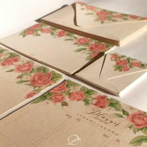 kit presente papelaria 1 - floral rosa - envelope, cartão de felicitação, tag para presente