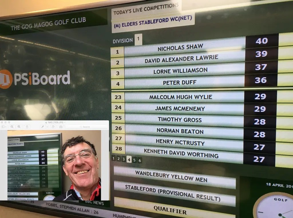 David's score in the Stableford
