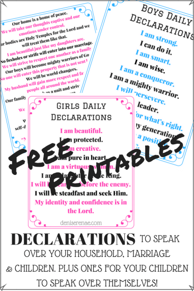 Free Printables - Declarations to speak over yourself, home, marriage and children.