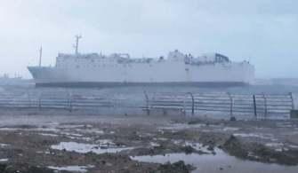 Mersinde Boş Hayvan Gemisi Karaya Oturdu